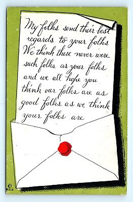 Postcard MT Sheahan 1910 Arts Crafts Style Poem About Good Folks B39