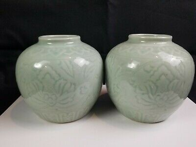 Vintage Chinese Or Korean Green Celedon Glazed Porcelain Vases