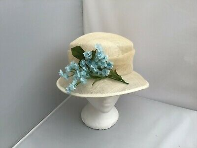 Ladies Cream Wide Brim Hat Weddings/Races/Occasions Good Condition By Debut