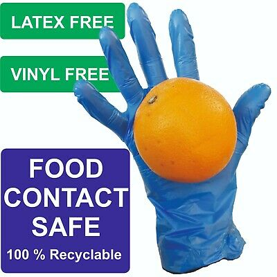 Disposable Polyethylene Polymer Gloves Food Safe Blue Premium Extra Thick Latex