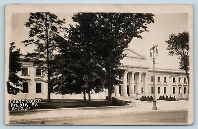 Postcard PA Media Delaware County Courthouse c1920s RPPC Real Photo S16