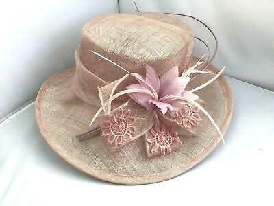 Ladies Pink Wide Brim Hat Weddings/Races/Occasions New/Tags By Raul Stunning