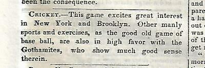 Early Mention Of Baseball - The Gothamites In An 1845 Newspaper