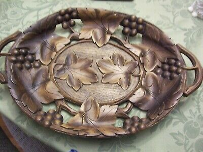 """Antique Black Forest Grapes & Leaves Hand Carved Wooden Tray W Handles 15x10"""""""