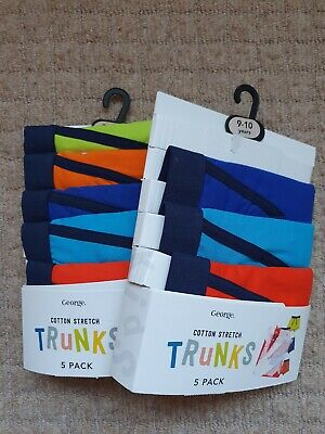 BNWT Boys 8 Pairs Size / Age 9-10 Years George Underwear Trunks Boxers Bundle