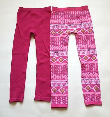 Faded Glory Girls 2 pairs of knit stretch leggings pants Pink One Size (7-16)