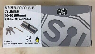 Smith  & Locke 6-Pin Double Euro Cylinder 40-40 (80Mm) Nickel Plated - New