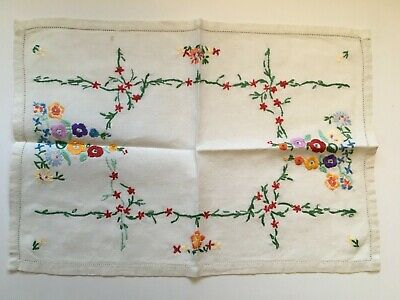 Vintage English Embroidery Fabric Table Scarf Hand Embroidered English Flowers