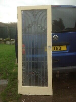 Antique arts and crafts lead light softwood door