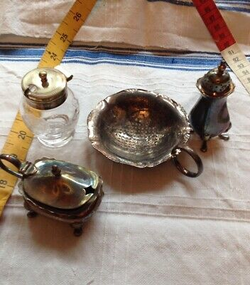 Job Lot 4 Items Condiments Salts as pictured Silver Plate EPNS