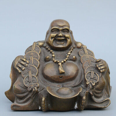 AAA Collectable China Old Copper Carve Buddha Auspicious Beautiful Unique Statue
