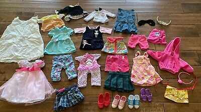 "Big Lot Of 18"" Doll Sized Clothes & Accessories Dresses Shirts Skirts Shoes"