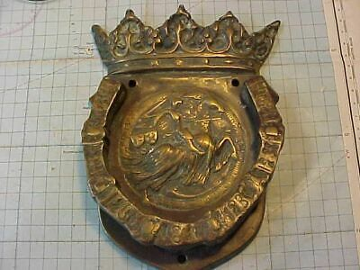 Vintage Large Heavy Brass Door Knocker With Knight