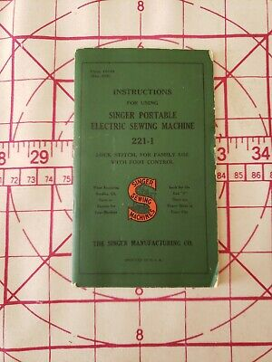 Vintage/Antique Instructions For Using Singer Portable Electric Sewing Machine