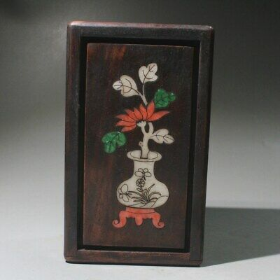 China Collect Old Boxwood Handwork Carve Flowers Bring Luck Precious Storage Box