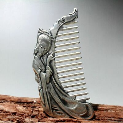 Collectable Chinese Tibet Silver Hand-Carved Ancient Beauty Unique Delicate Comb