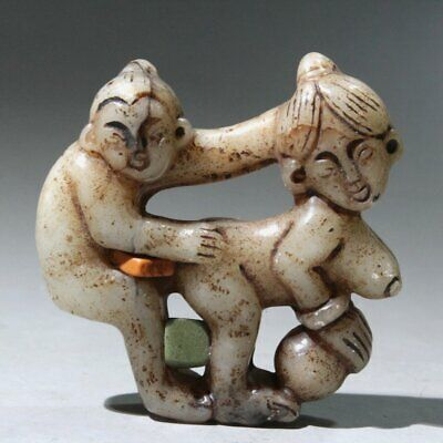 Collectable China Old Jade Hand-Carved Husband Wife Life Interesting Rare Statue