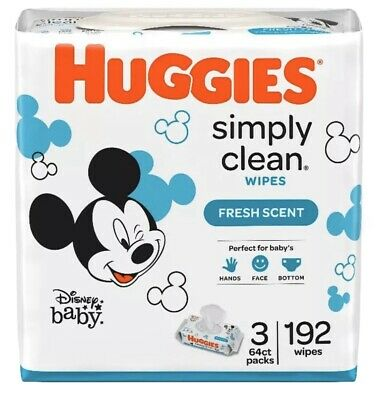 Huggies Simply Clean Baby Wipes 192 Count - 3 packs A1