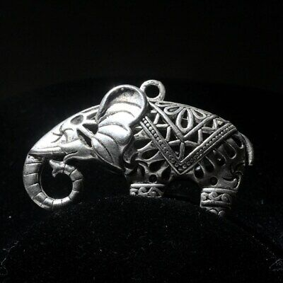 Collectable Chinese Handwork Old Miao Silver Carve Hollow Out Elephent Pendant