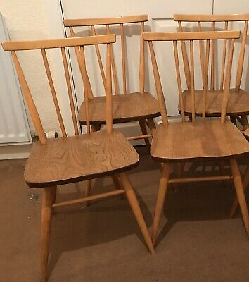 Set Of Four Blonde Ercol Vintage Retro Mid Century 391 Stick back Chairs