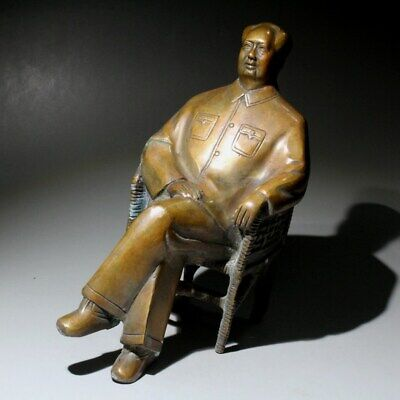 Collectable Handwork Copper Carve China Great Leader Of Mao Zedong Lucky Statue