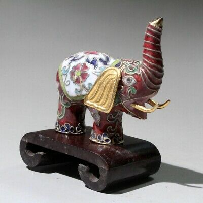 Collectable China Old Cloisonne Hand-Carved Lovely Elephant Auspicious Statue