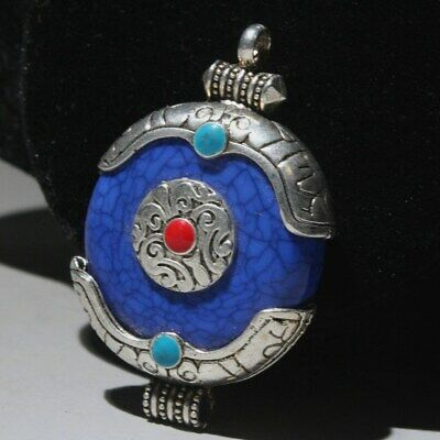 China Collectable Old Miao Silver Cloisonne Delicate Auspicious Decorate Pendant