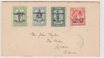 (K226-5) 1935 Papua FDC set of 4stamps KGV silver jubilee 2d accent flaw (E)