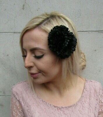 Double Black Carnation Flower Hair Clip Fascinator Boho Floral Wedding Vtg 0127