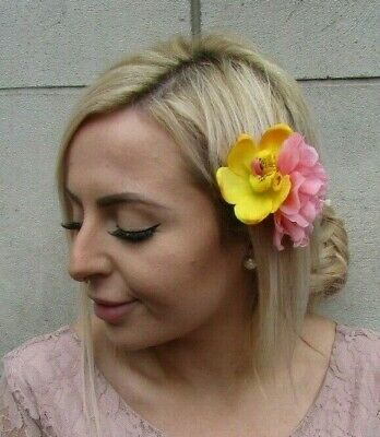 Peach Pink Yellow Orchid & Peony Double Flower Hair Clip Fascinator Floral 0130
