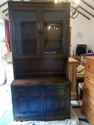 ref 2 Ercol Welsh Dresser Old Colonial  glass Display Cabinet Cupboard