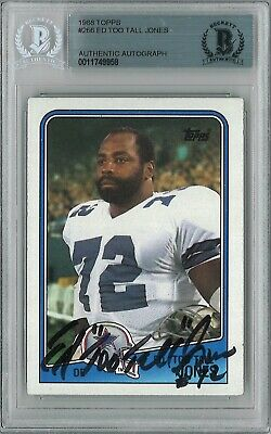 11749958 - Ed Too Tall Jones Signed 1988 Topps Trading Card BAS