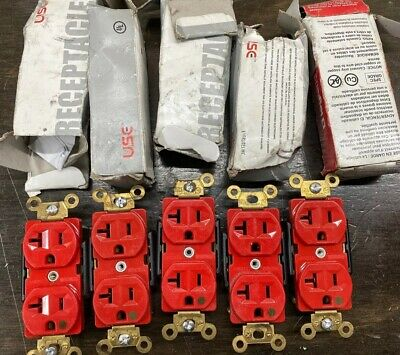 Hospital Grade Duplex Receptacle 20A 125V 5-20R 2 Pole 3 Wire Red Lot Of 5