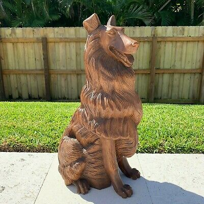 "Antique Black Forest Wood Hand Carved Dog Collie Figure–25.5"" Tall–20 Lbs. 2 Oz"