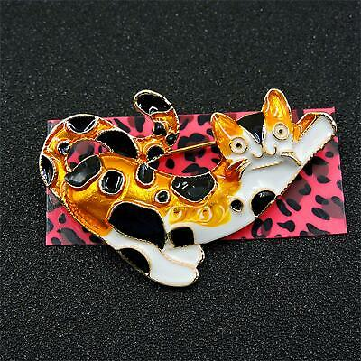 New Yellow/Black Enamel Cute Cat Animal Betsey Johnson Charm Brooch Pin Gift
