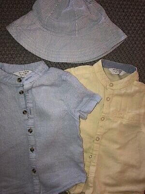 2 Baby Boy Linen Summer Shirts 12-18 Months/ Holiday Shirt / Beach Wear