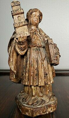Antique 18th C Carved Wood Statue Saint Barbara St Santo Medieval Baroque Gothic