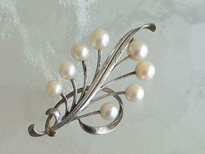 Vintage Mikimoto 8 White Pearl Sterling Silver Leaf Brooch Pin RETRO MODERN