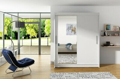 Westa Wardrobe - Sliding Doors- With Mirror- Shelves- Hanging Rail - White / Oak