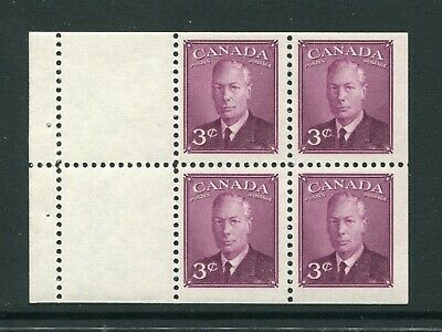 """CANADA Scott 286b - NH - 3¢ Rose Violet """"POSTES-POSTAGE"""" Booklet Pane of 4 (016)"""