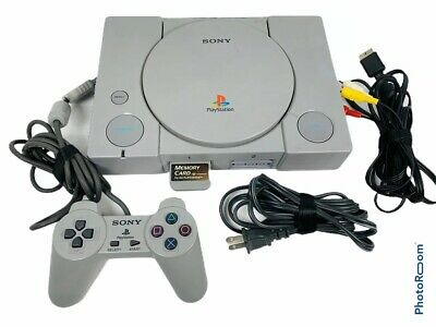 🔥 Sony PlayStation PS1 Gray Console System Controller Bundle SCPH-7501 • Works