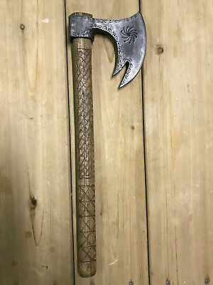 Custom Hand-Made Viking Axe, Hatchet, Hand-Carved Handle