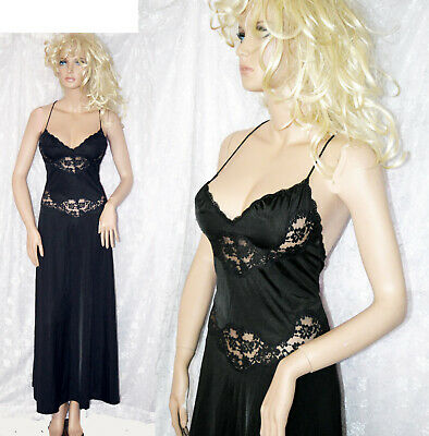 VTG Vanity Fair Black Nylon Cut Out Lace Backless Negligee Nightgown 36