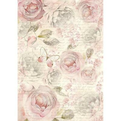 DFSA4158 Shabby Roses Stamperia Rice Paper A4 Decoupage Mixed media