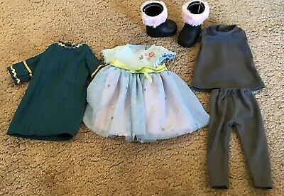 "18"" Inch Doll Clothes Lot Of 5 Items Leggings 2 Dresses Top Boots"