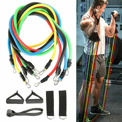 Resistance Bands Heavy Workout Exercise Yoga 11Piece Set Crossfit Fitness Tube D