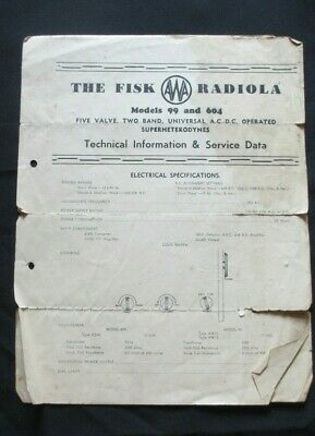 C1960's The Fisk AWA Radiola Models 99 & 604 Technical Information/Service Data.