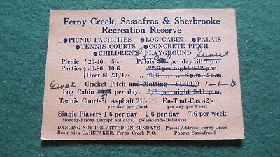 Circa 1950's Ferny Creek Sassafras & Sherbrooke Recreation Reserve Card.