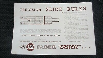 "Circa 1960's Precision Slide Rules A.W. Faber ""Castell"" Collins St Mel Ephemera"