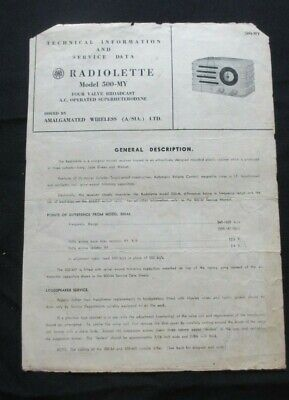 Circa 1960's AWA Radiolette Technical Information And Service Data Model 500-MY.